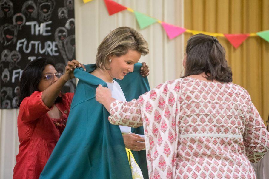 La reine des Belges Mathilde à New Delhi, le 8 novembre 2017