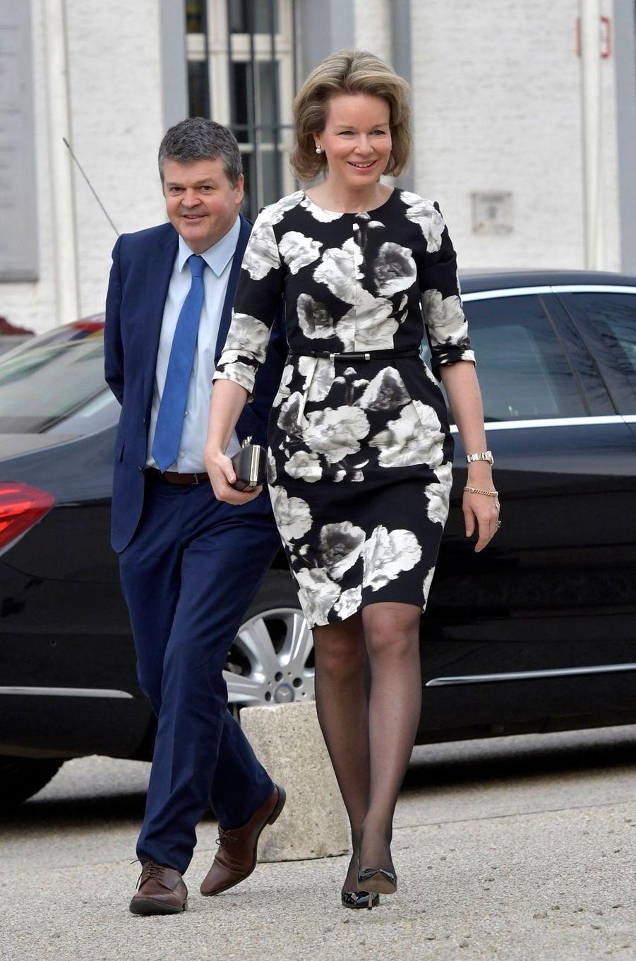 La reine Mathilde de Belgique au Kazerne Dossin à Malines, le 27 mars 2018