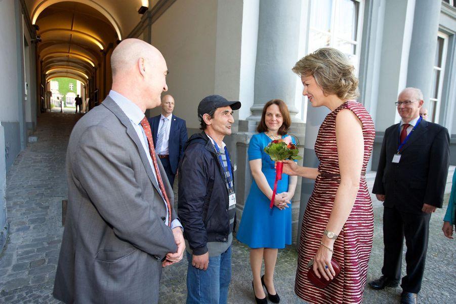 La reine Mathilde de Belgique à Bruxelles, le 9 juin 2016