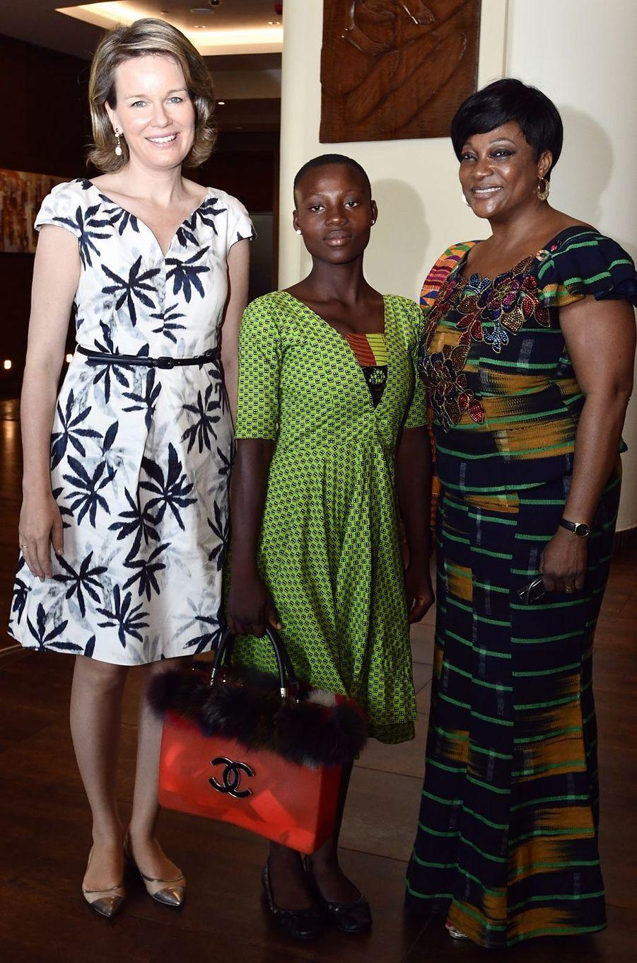 La reine des Belges Mathilde au Ghana, en Natan, le 8 février 2018