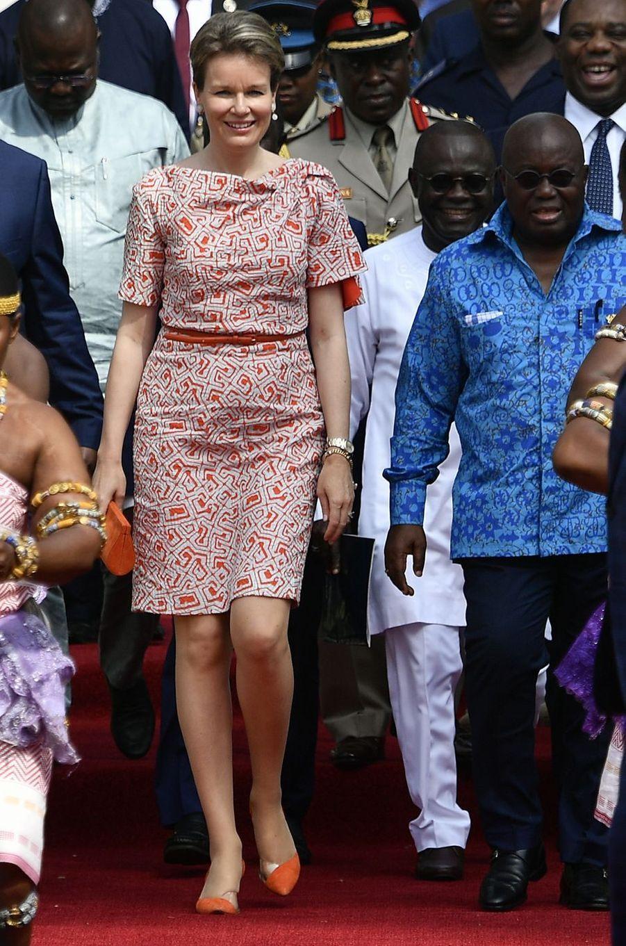 La reine des Belges Mathilde au Ghana, en Natan, le 9 février 2018