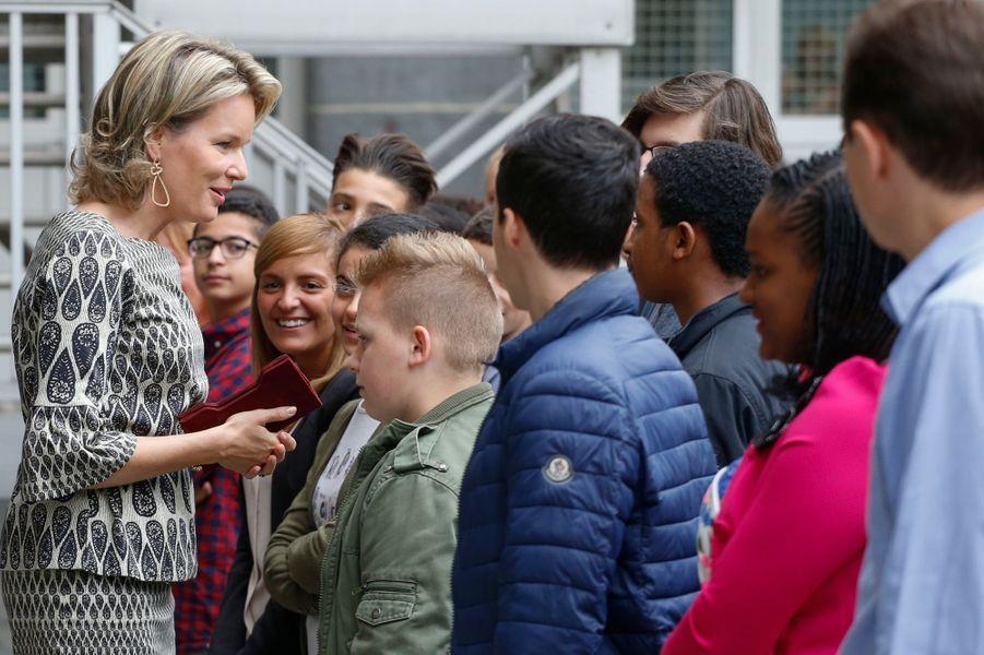 La reine Mathilde de Belgique à Bruxelles, le 21 septembre 2016