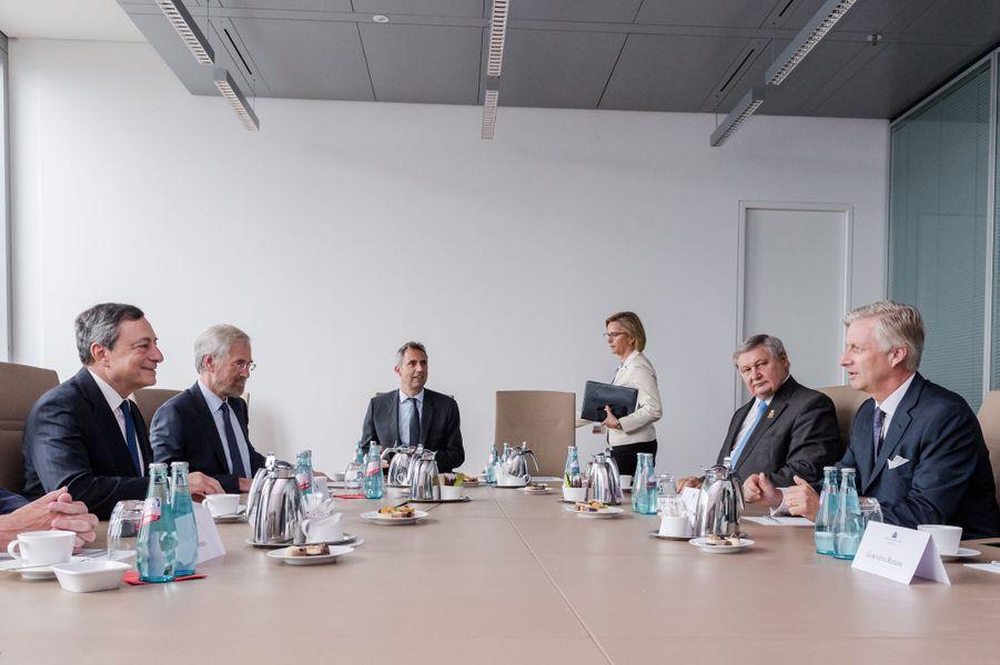 Le roi des Belges Philippe à la Banque centrale européenne à Francfort, le 20 septembre 2016