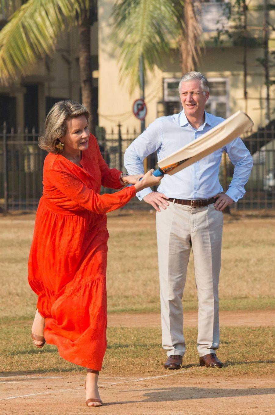 La reine Mathilde et le roi Philippe de Belgique à Bombay en Inde, le 10 novembre 2017