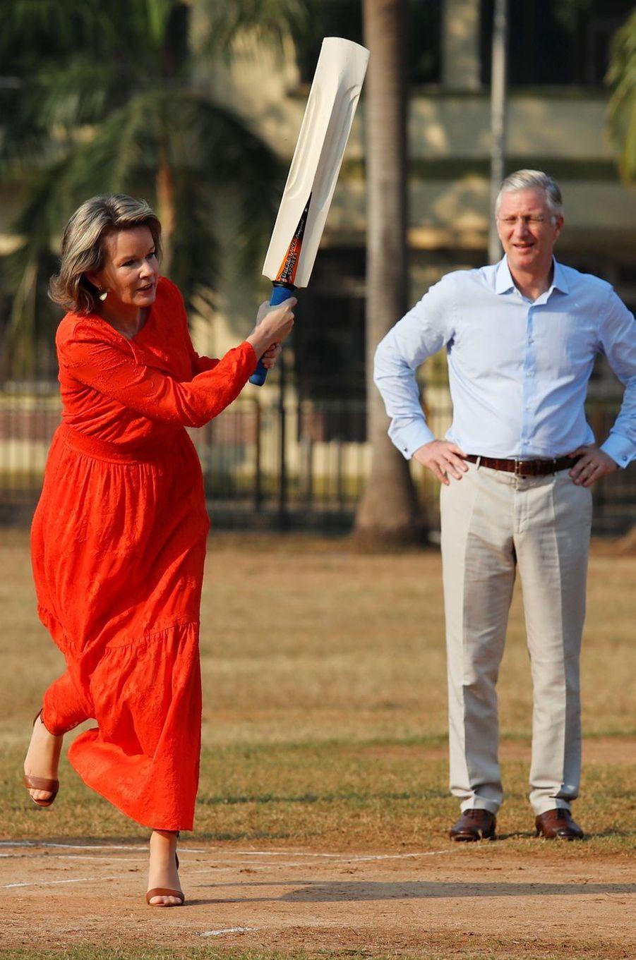 La reine Mathilde et le roi des Belges Philippe à Bombay, le 10 novembre 2017