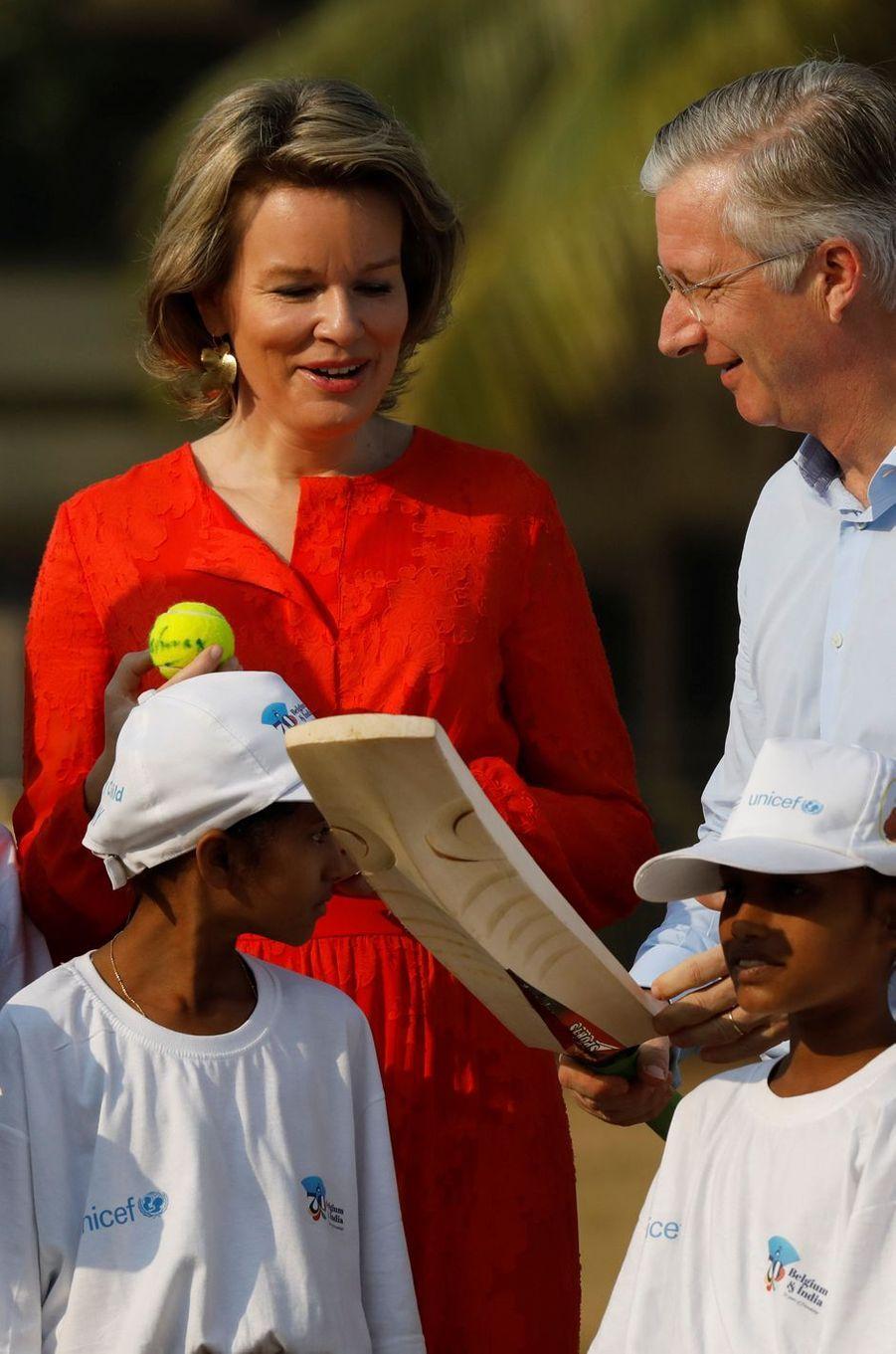 La reine Mathilde et le roi Philippe de Belgique à Bombay, le 10 novembre 2017