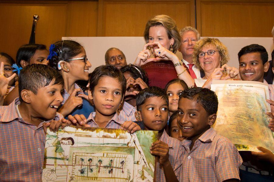La reine Mathilde de Belgique à Bombay, le 9 novembre 2017