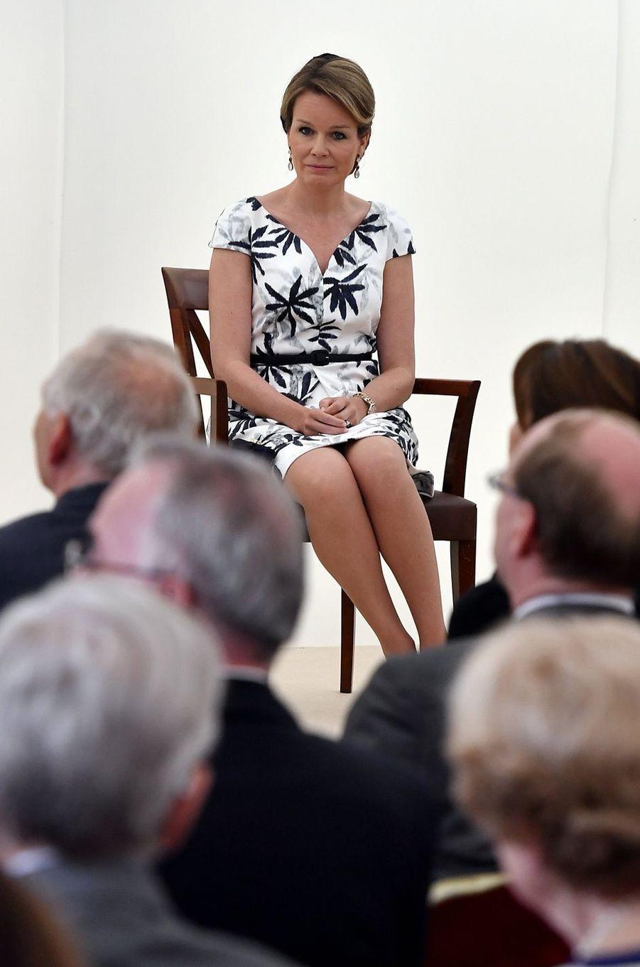 La reine Mathilde de Belgique à Waterloo, le 31 mai 2016