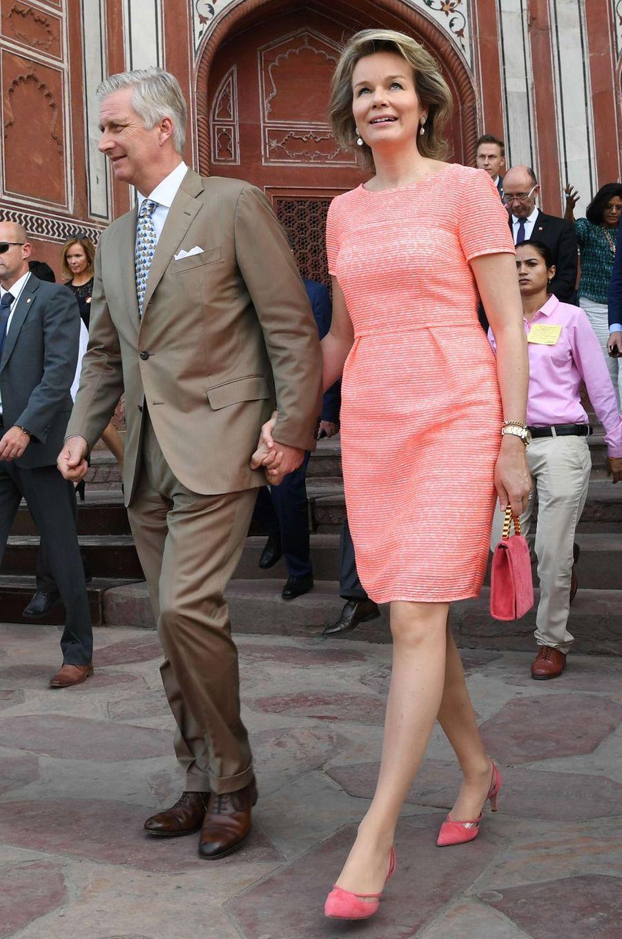 La reine des Belges Mathilde en Natan, en Inde, le 6 novembre 2017