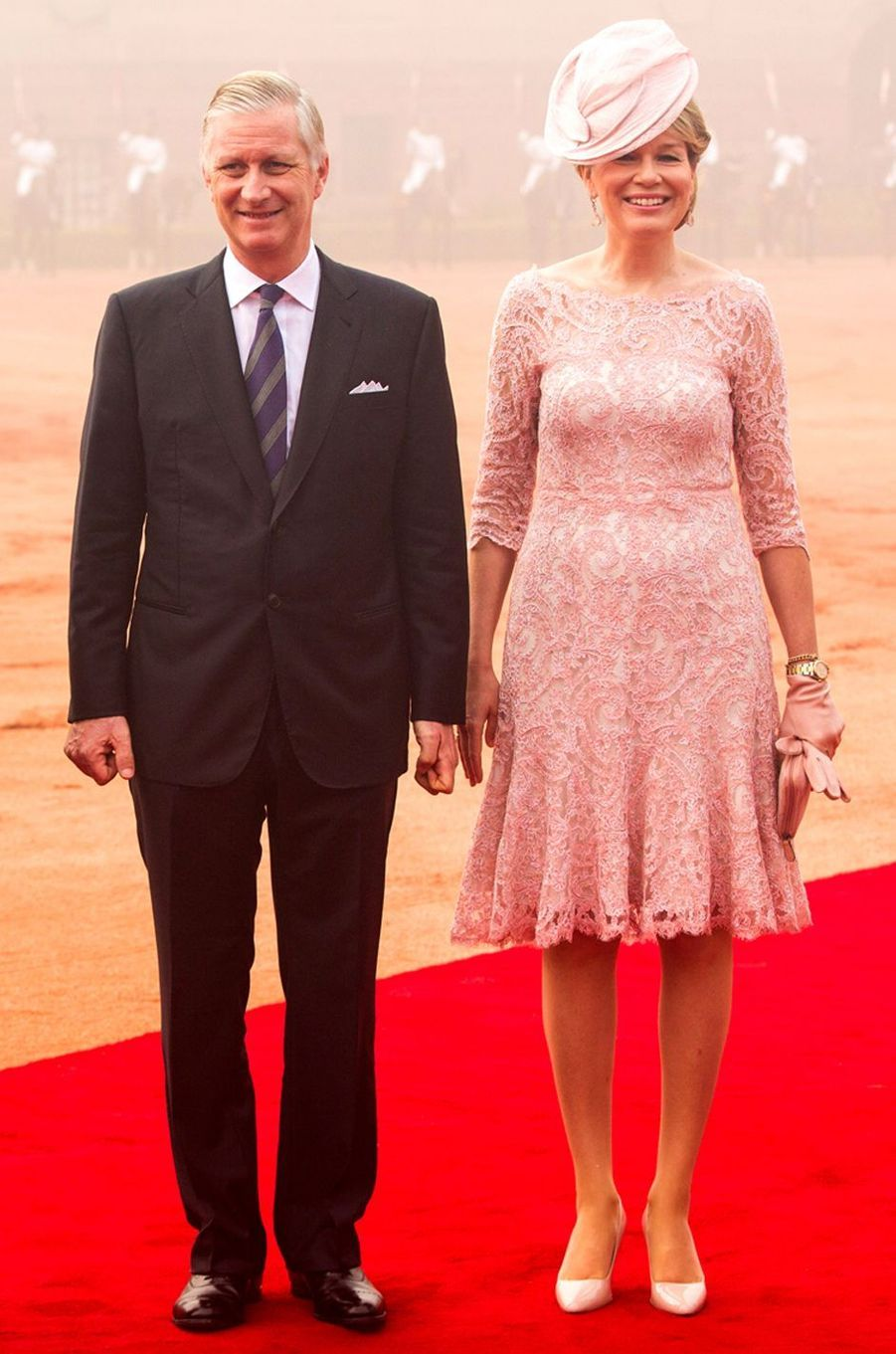 La reine des Belges Mathilde en Esmeralda Ammoun, en Inde, le 7 novembre 2017