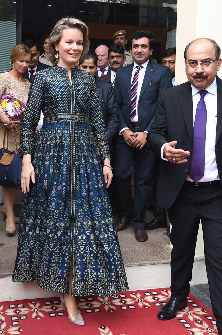 La reine des Belges Mathilde en Anita Dongre en Inde, le 7 novembre 2017