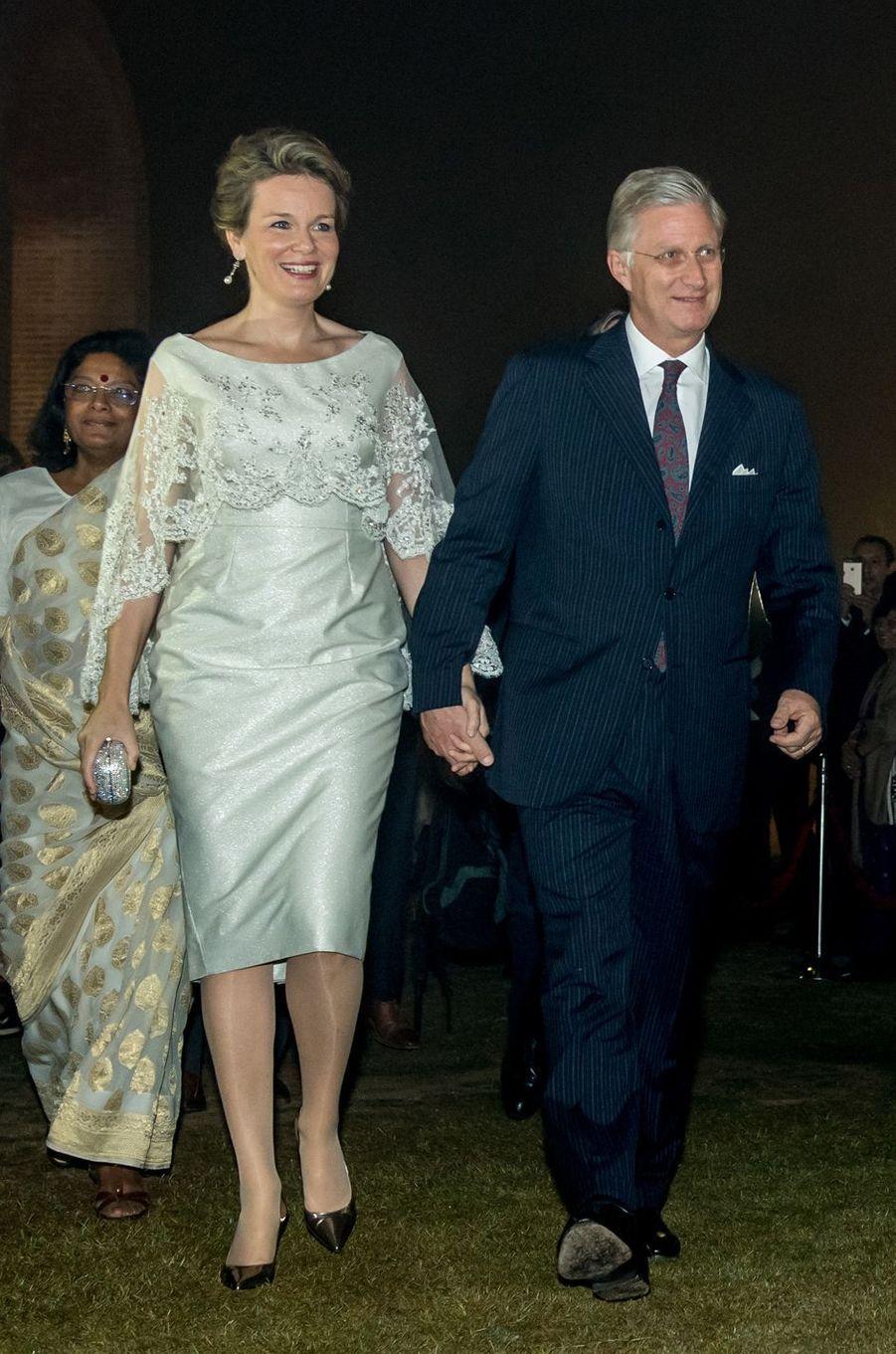 La reine des Belges Mathilde en Bernard Depoorter en Inde, le 8 novembre 2017