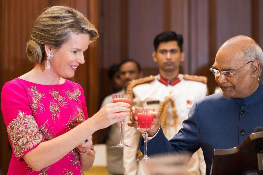 La reine des Belges Mathilde en Inde, le 7 novembre 2017