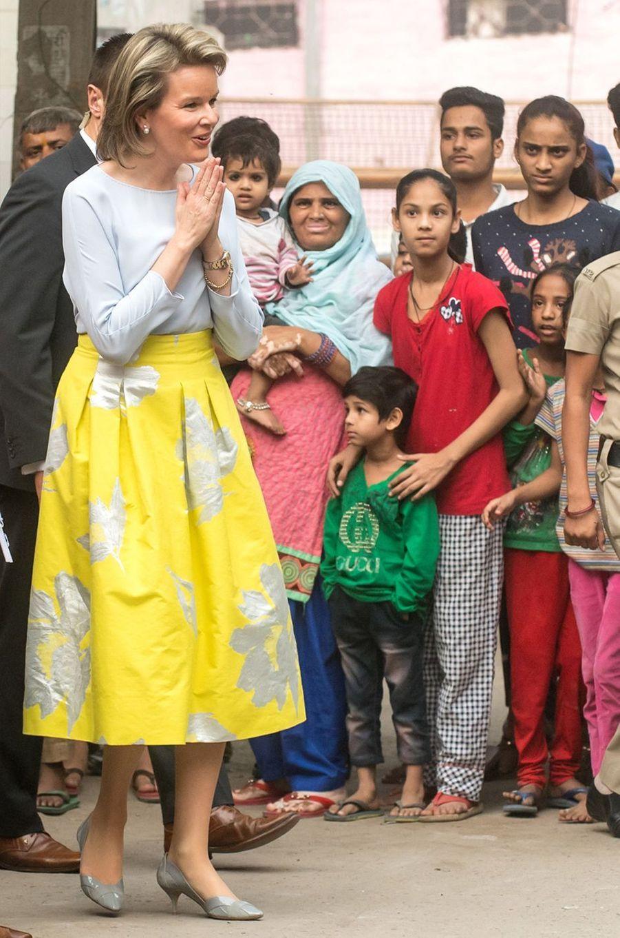 La reine des Belges Mathilde en Inde, le 8 novembre 2017