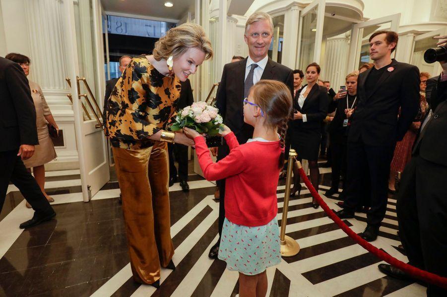 La reine Mathilde et le roi des Belges Philippe au Théâtre royal de la Monnaie à Bruxelles, le 6 septembre 2017