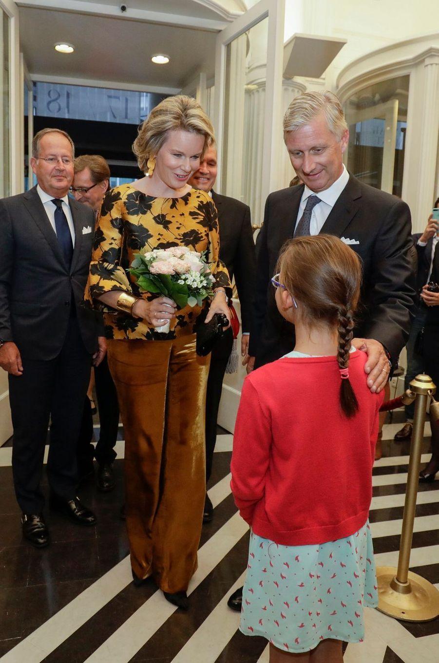 La reine Mathilde, en Natan, et le roi des Belges Philippe à Bruxelles, le 6 septembre 2017