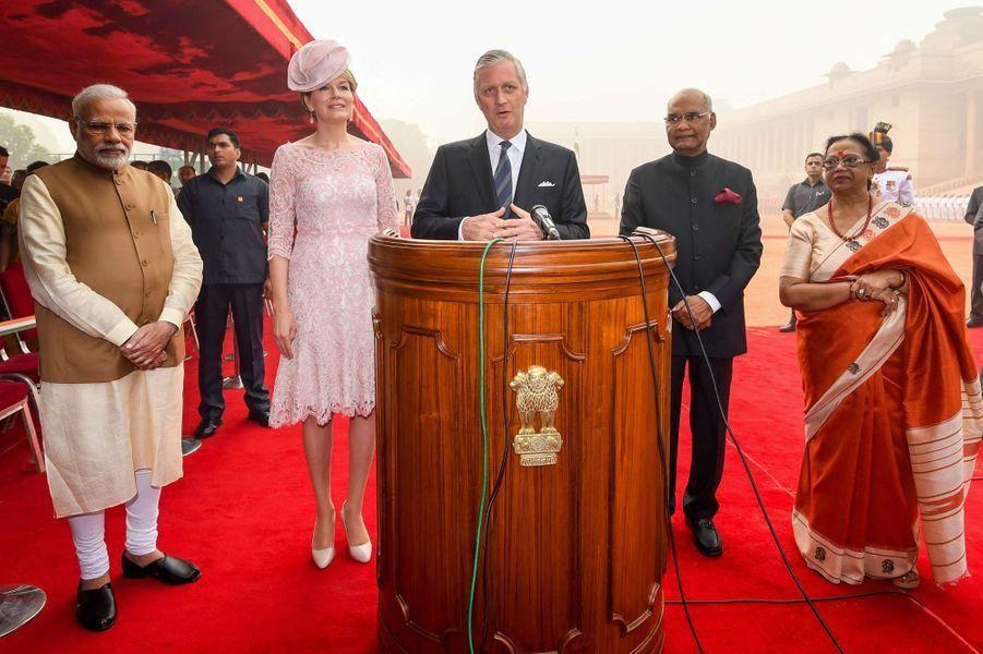 La reine Mathilde et le roi des Belges Philippe avec le couple présidentiel et le Premier ministre de l'Inde à New Delhi, le 7 novembre 2017