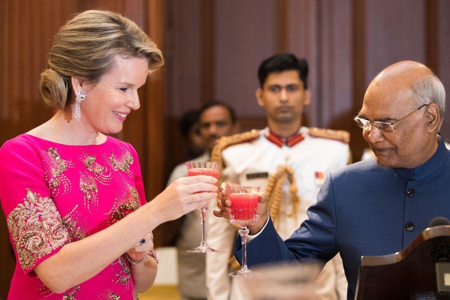La reine Mathilde de Belgique et le président indien à New Delhi, le 7 novembre 2017