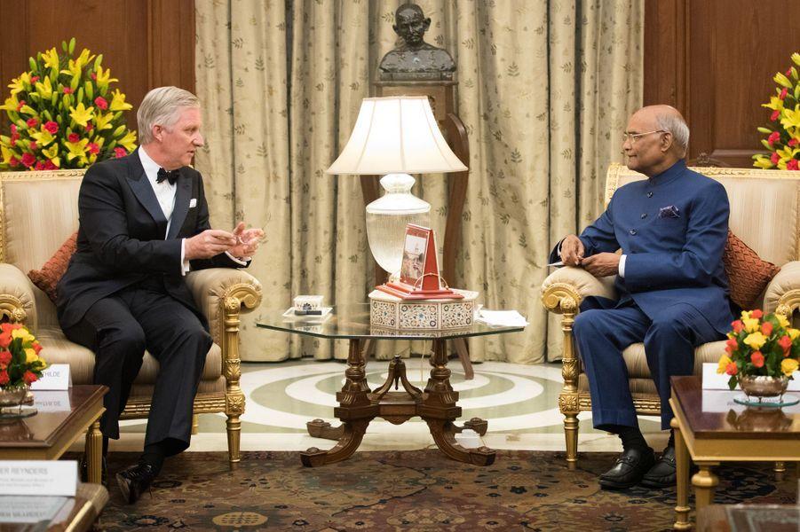 Le roi Philippe de Belgique et le président indien à New Delhi, le 7 novembre 2017