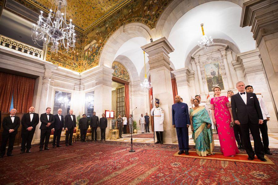 La reine Mathilde et le roi Philippe de Belgique avec le couple présidentiel indien à New Delhi, le 7 novembre 2017