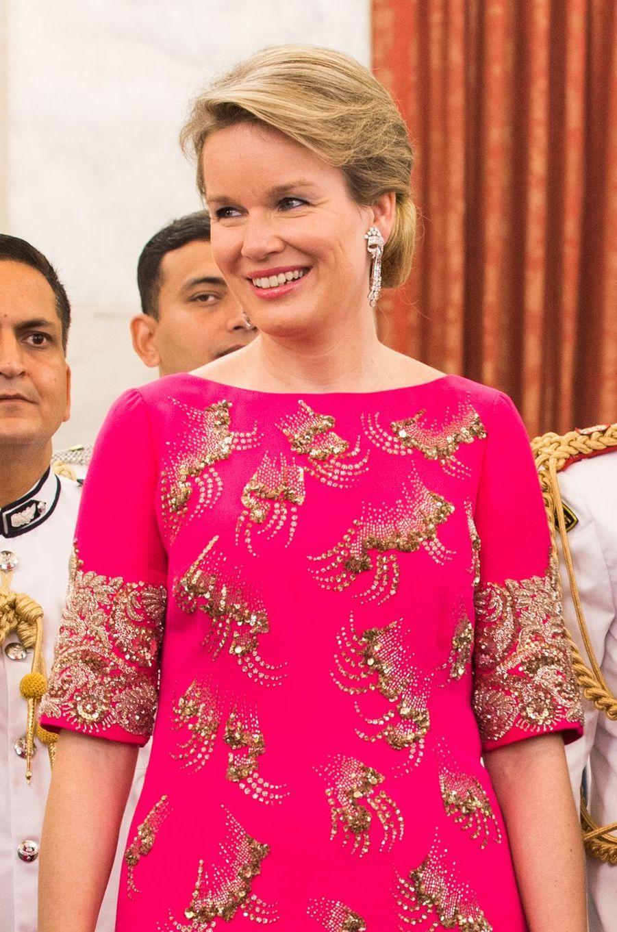 La reine Mathilde de Belgique à New Delhi, le 7 novembre 2017