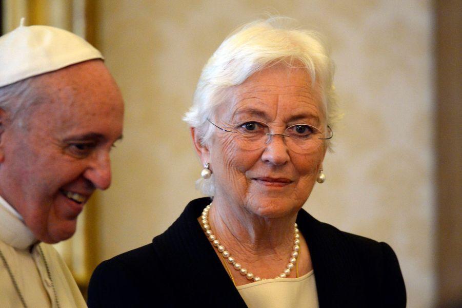 L'ex-reine des Belges Paola avec le pape François, le 26 avril 2014