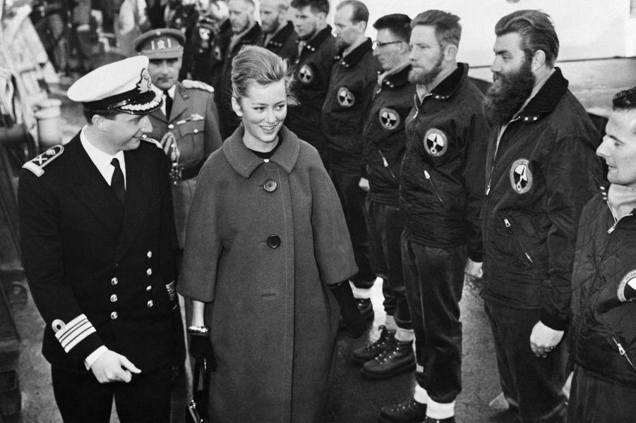 La princesse Paola de Belgique et le prince Albert, en mars 1961