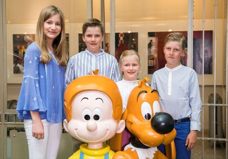 La princesse Elisabeth avec sa soeur et ses frères au Centre belge de la Bande dessinée, à Bruxelles le 19 juillet 2016