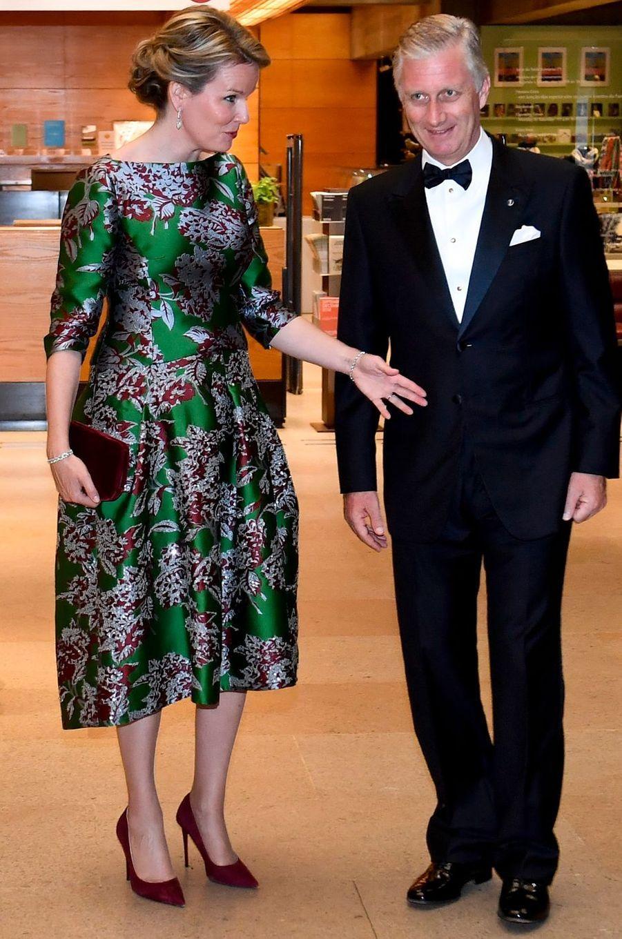 La reine des Belges Mathilde, en Natan, à Lisbonne le 23 octobre 2018