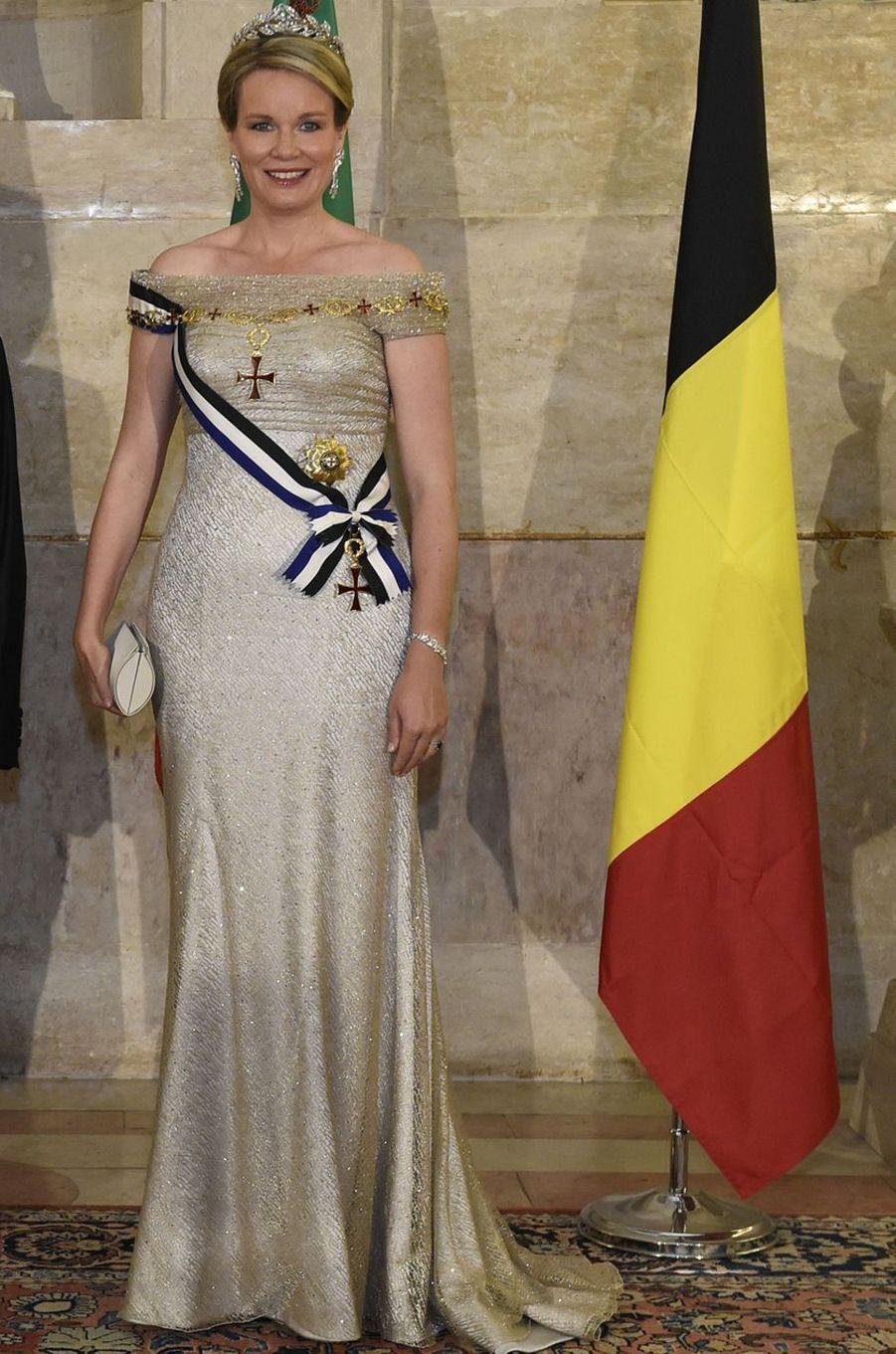 La reine des Belges Mathilde à Lisbonne, le 22 octobre 2018