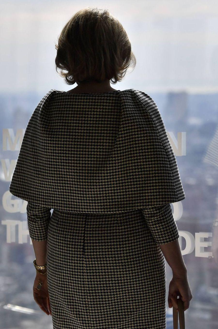 La reine des Belges Mathilde, de dos, à New York, le 12 février 2020