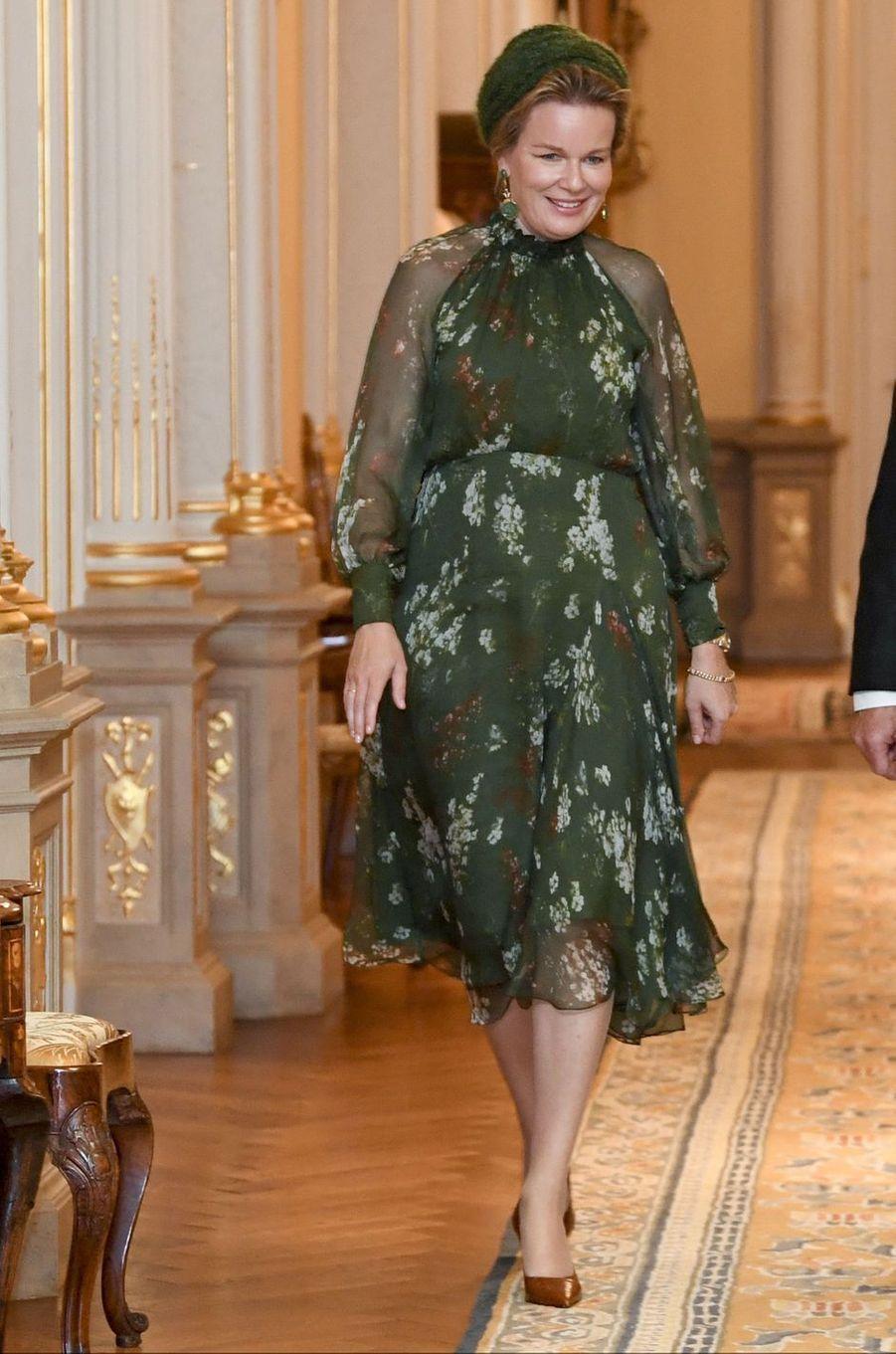 La reine des Belges Mathilde, dans une robe Natan, à Luxembourg le 15 octobre 2019
