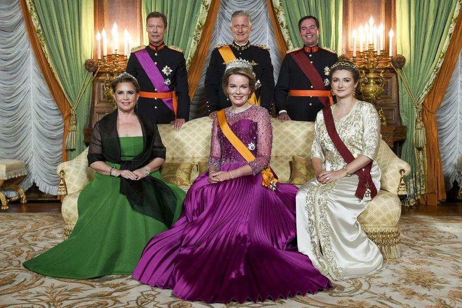 La reine des Belges Mathilde, dans une robe Armani Privé, à Luxembourg le 15 octobre 2019