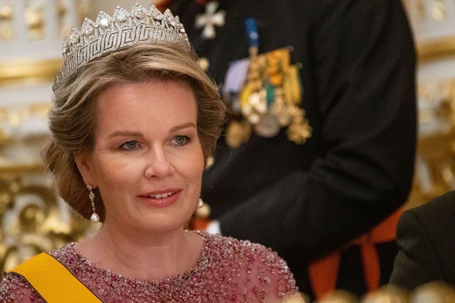 Le diadème des Neuf Provinces de la reine des Belges Mathilde, à Luxembourg le 15 octobre 2019