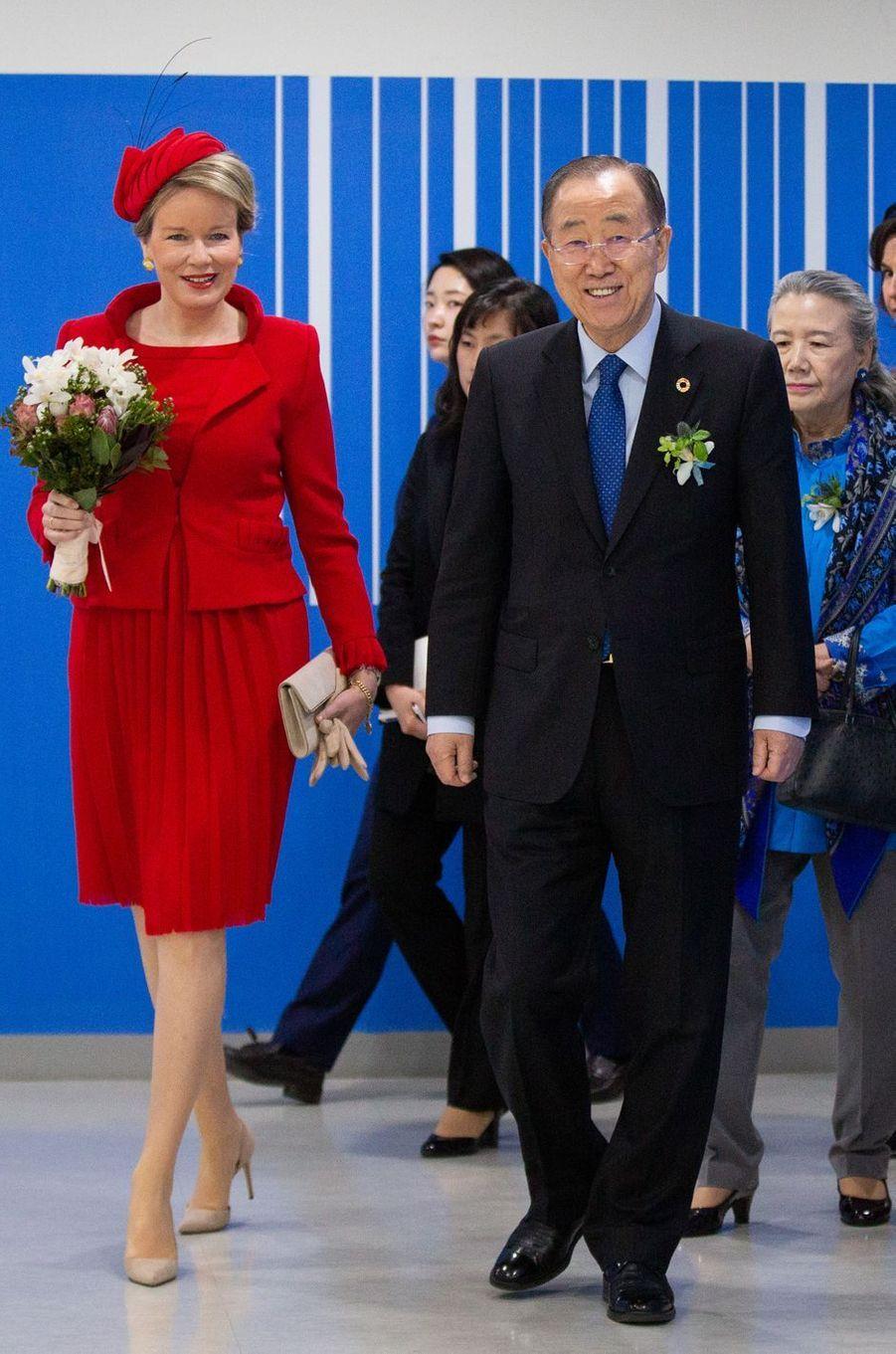 La reine des Belges Mathilde en Pierre Gauthier en Corée du Sud, le 27 mars 2019