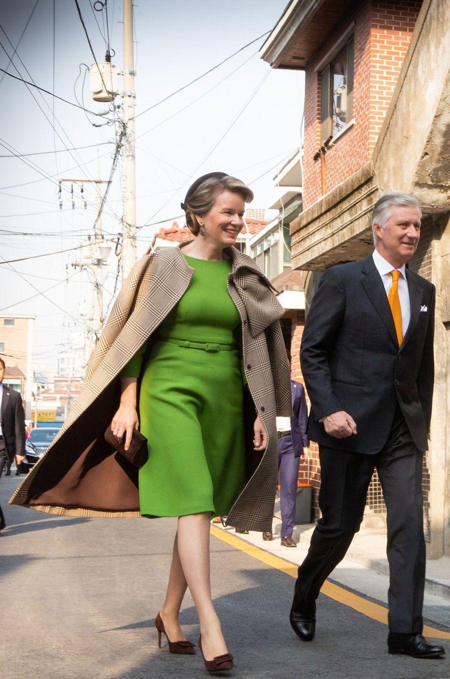 La reine des Belges Mathilde en Natan en Corée du Sud, le 28 mars 2019