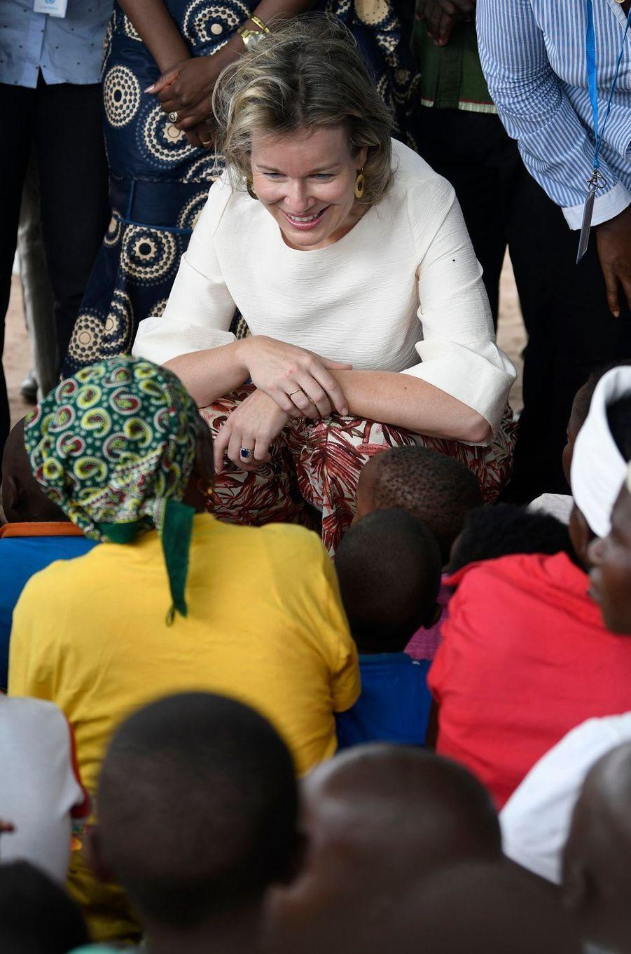 La reine des Belges Mathilde au Mozambique en visite humanitaire au nom de l'ONU, le 5 février 2019