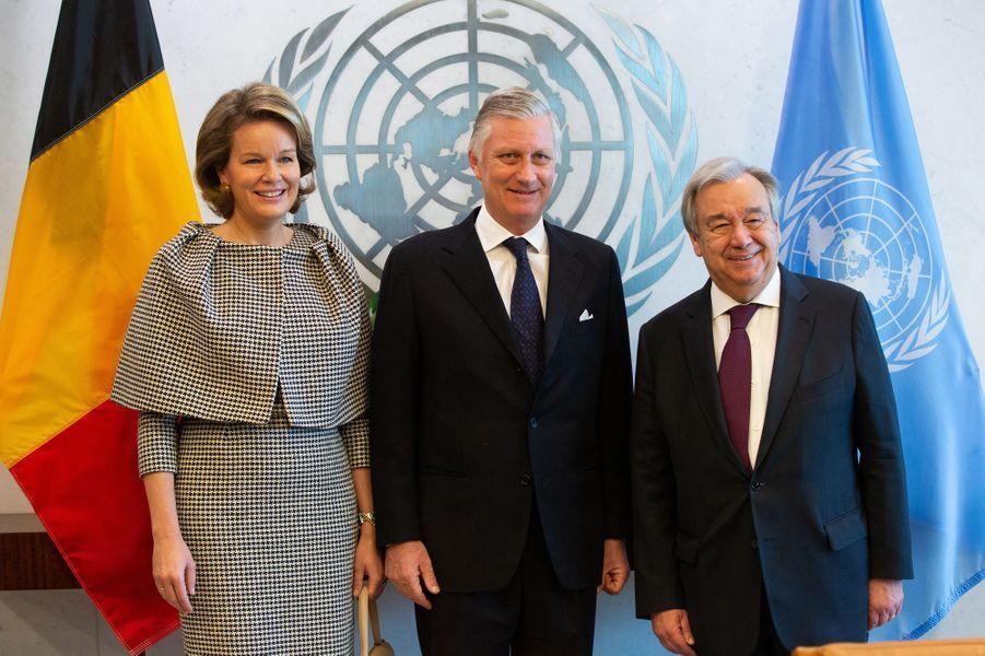 La reine Mathilde et le roi des Belges Philippe avec Antonio Guterres à New York, les 12 février 2020