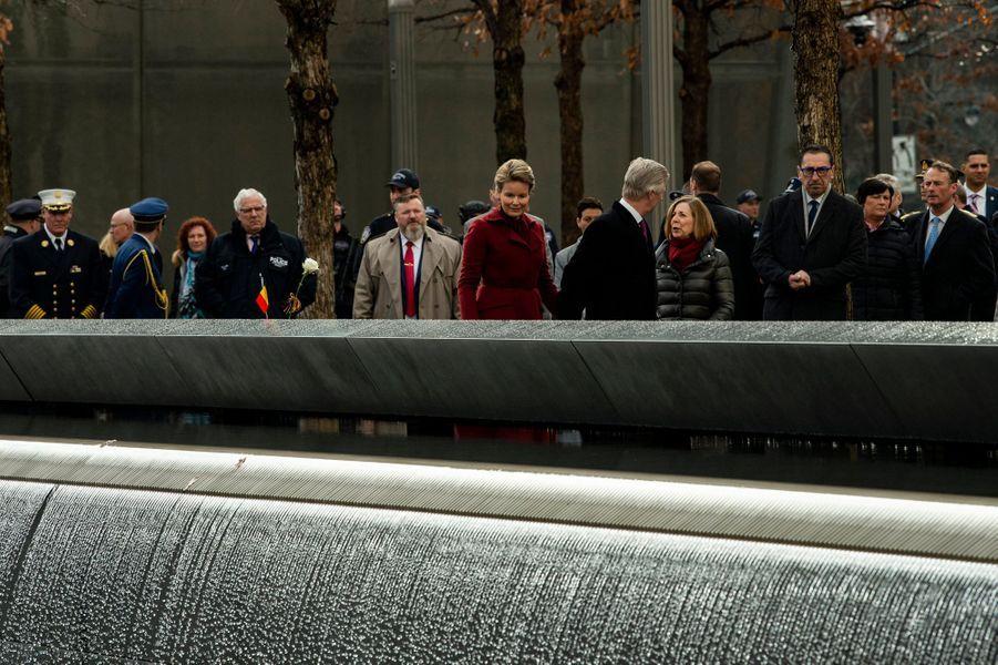 La reine Mathilde et le roi des Belges Philippe sur le site de Ground Zero à New York, le 11 février 2020