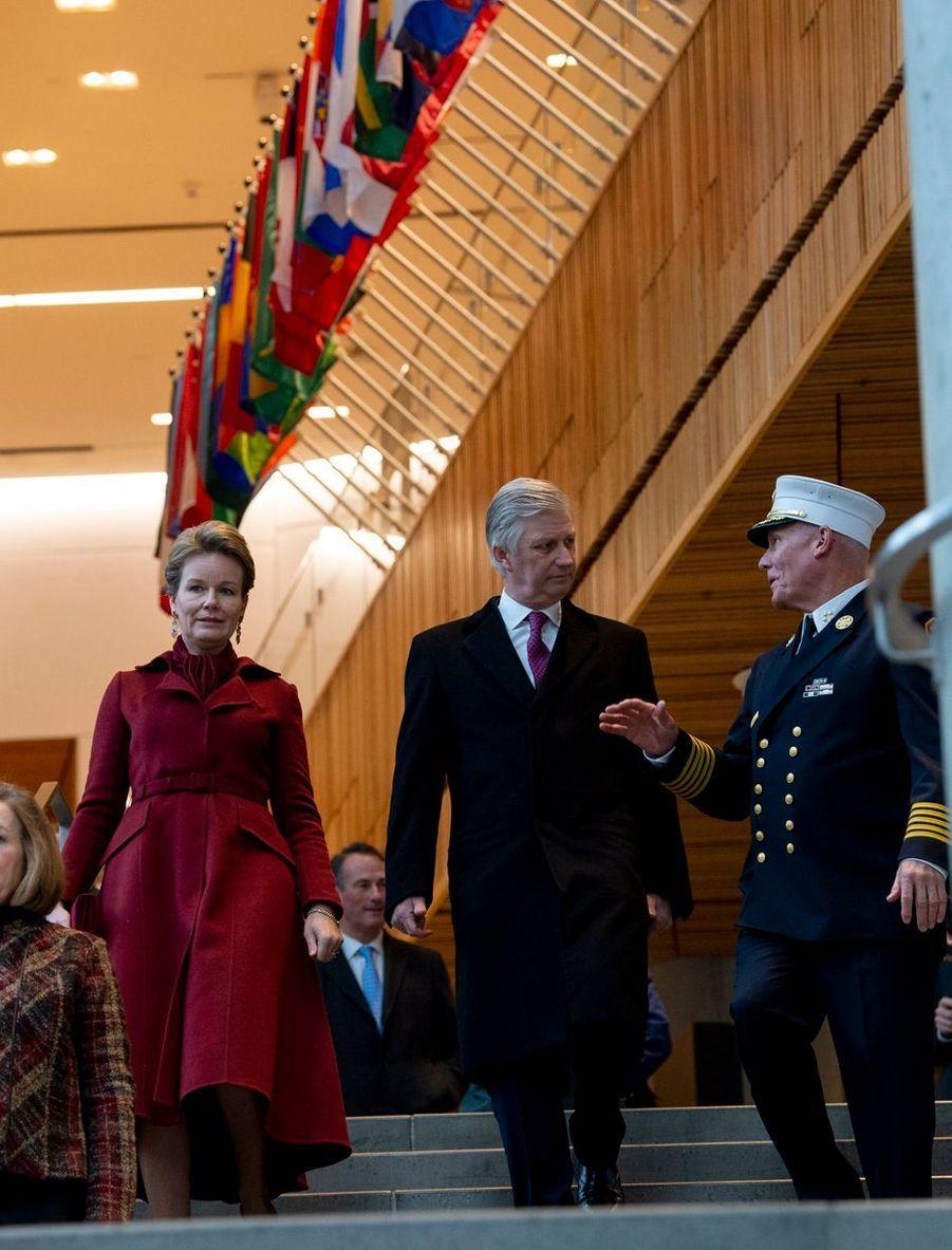 La reine Mathilde et le roi des Belges Philippe à New York, le 11 février 2020