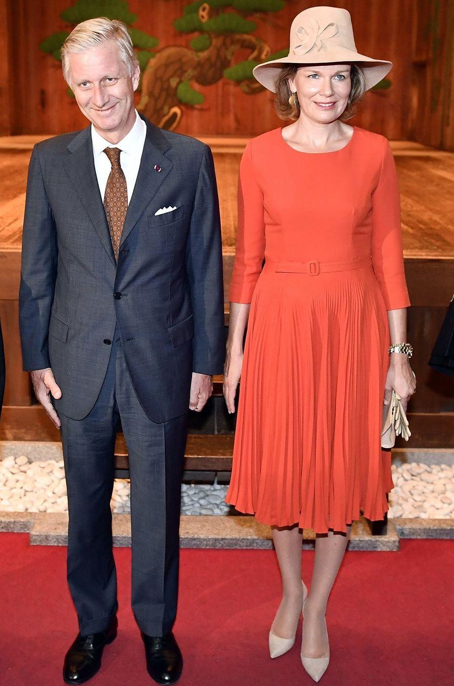 La reine Mathilde de Belgique au Japon, le 14 octobre 2016