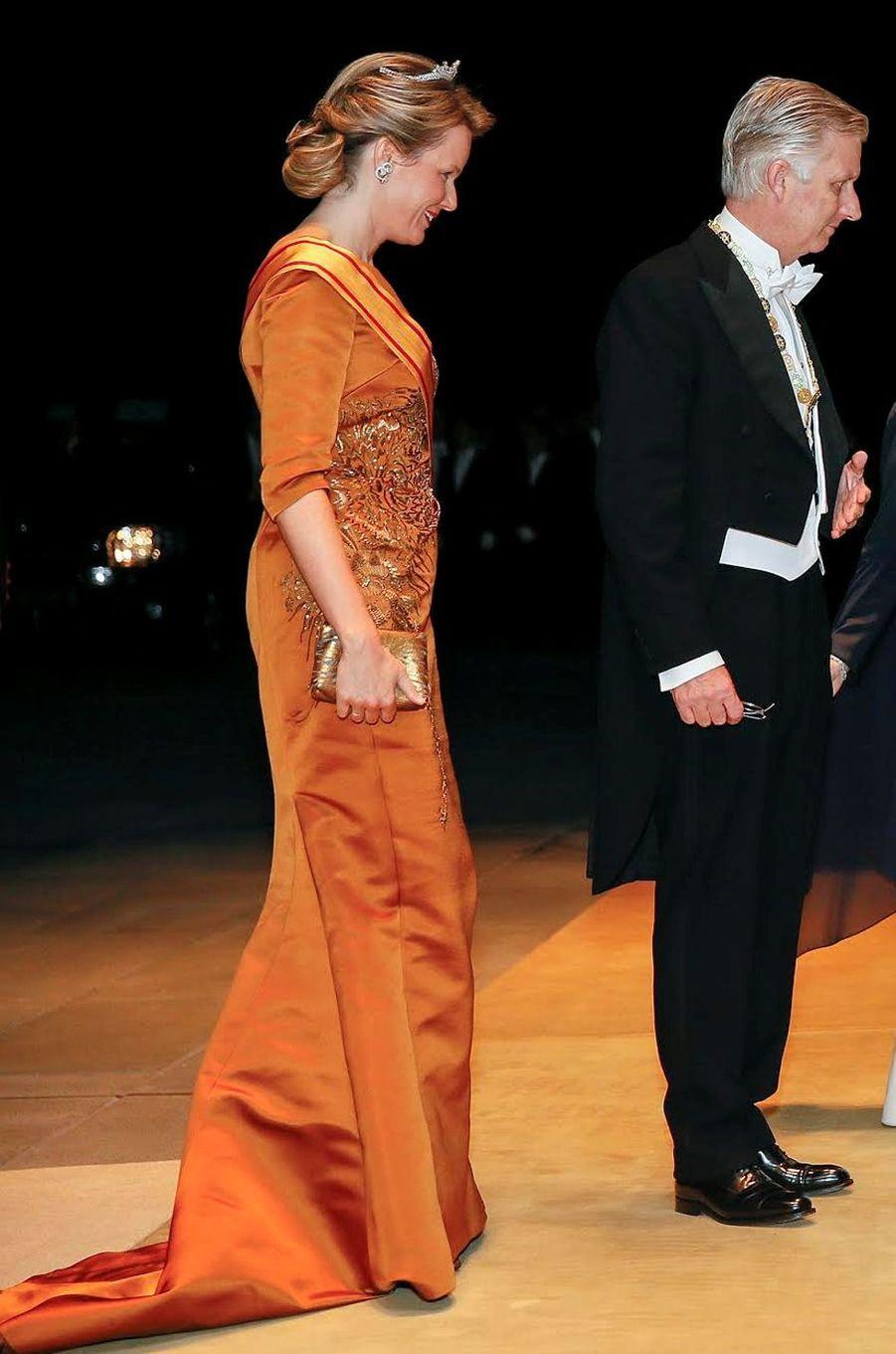 La reine Mathilde de Belgique au Japon, le 11 octobre 2016