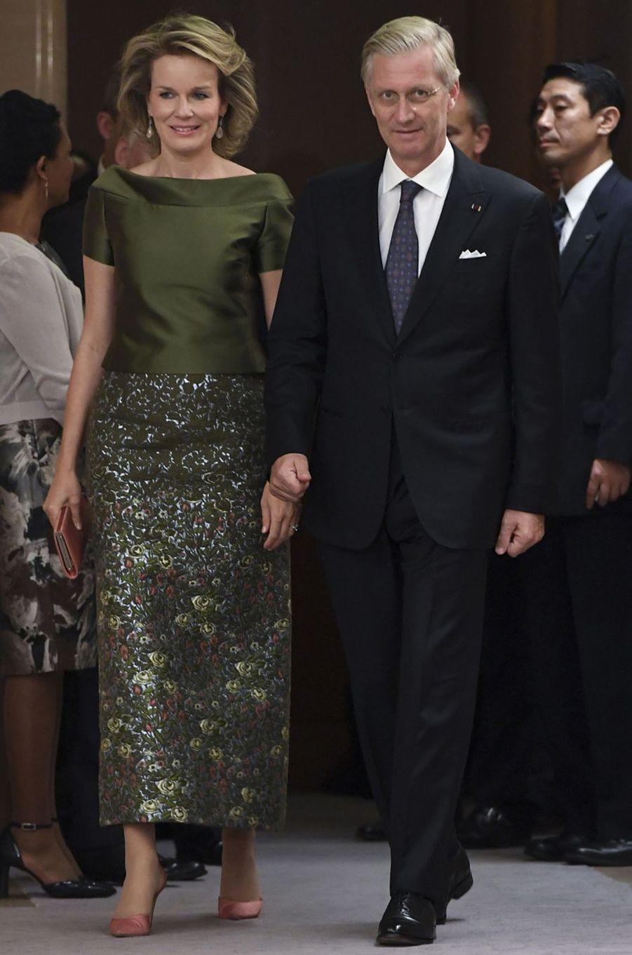 La reine Mathilde de Belgique au Japon, le 13 octobre 2016