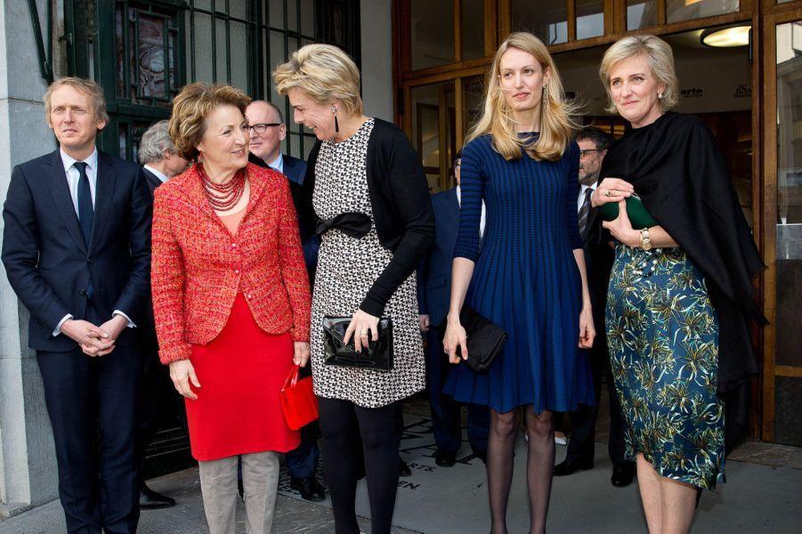 Les princesses Margriet et Laurentien des Pays-Bas avec la princesse Astrid de Belgique et sa belle-fille Elisabetta à Bruxelles, le 31 mars 2015