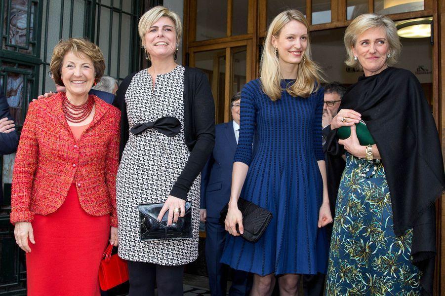 Les princesses Margriet et Laurentien des Pays-Bas avec la princesse Astrid et sa belle-fille Elisabetta à Bruxelles, le 31 mars 2015