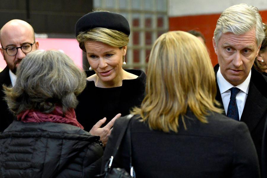 La Reine Mathilde Et Le Roi Des Belges Philippe Rendent Hommages Aux Victimes Des Attentats Du 22 Mars 2016 À Bruxelles 22