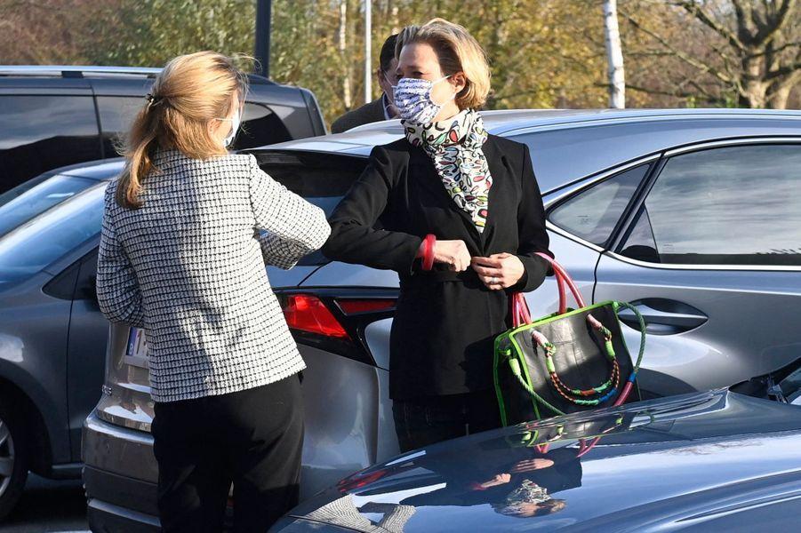 La princesse Delphine de Saxe-Cobourg à son arrivée à 'hôpital universitaire de Gand, le 10 décembre 2020