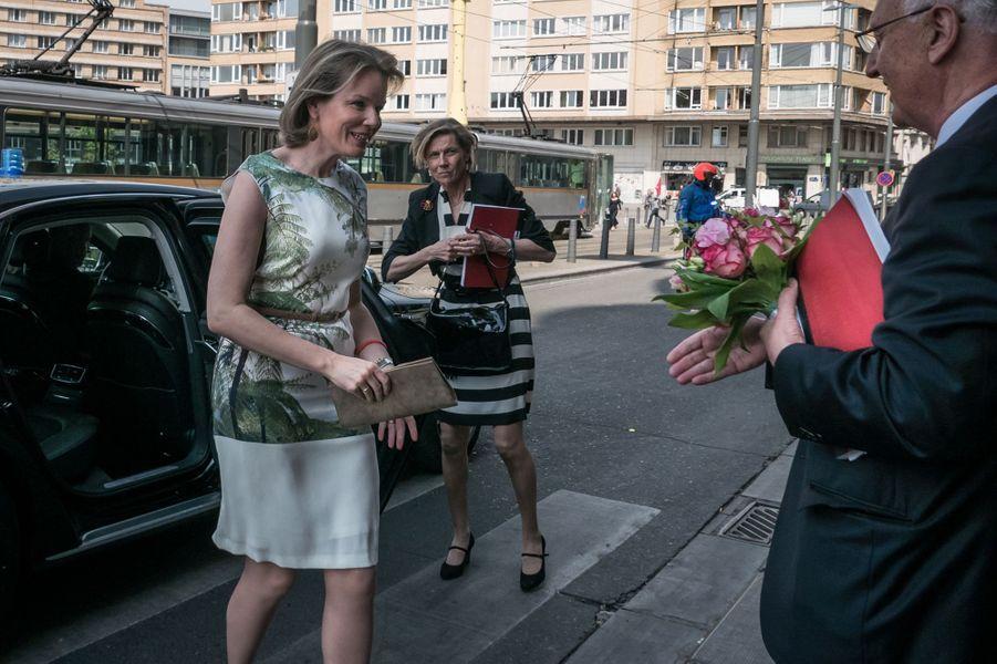 La reine Mathilde de Belgique à Ixelles près de Bruxelles, le 9 mai 2016