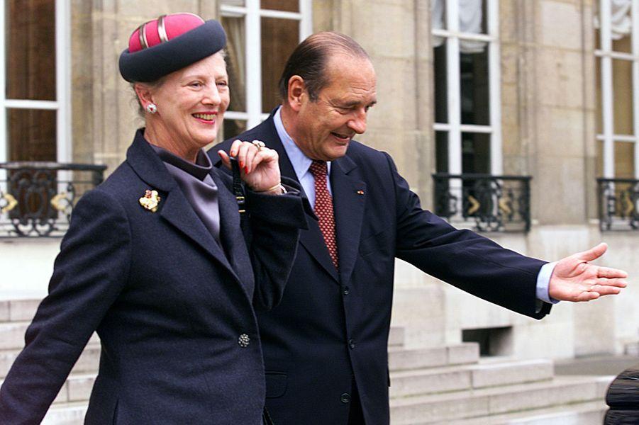La reine Margrethe II de Danemark avec Jacques Chirac, le 8 octobre 1999