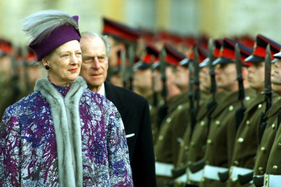 La reine Margrethe II de Danemark avec le Duc d'Edimbourg Philip Mountbatten, le 16 février 2000